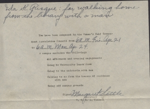 Here is an example of a letter notifying a student of restrictions they were being given by not follow the regulations of the association. Photo courtesy of UK Special Collections.